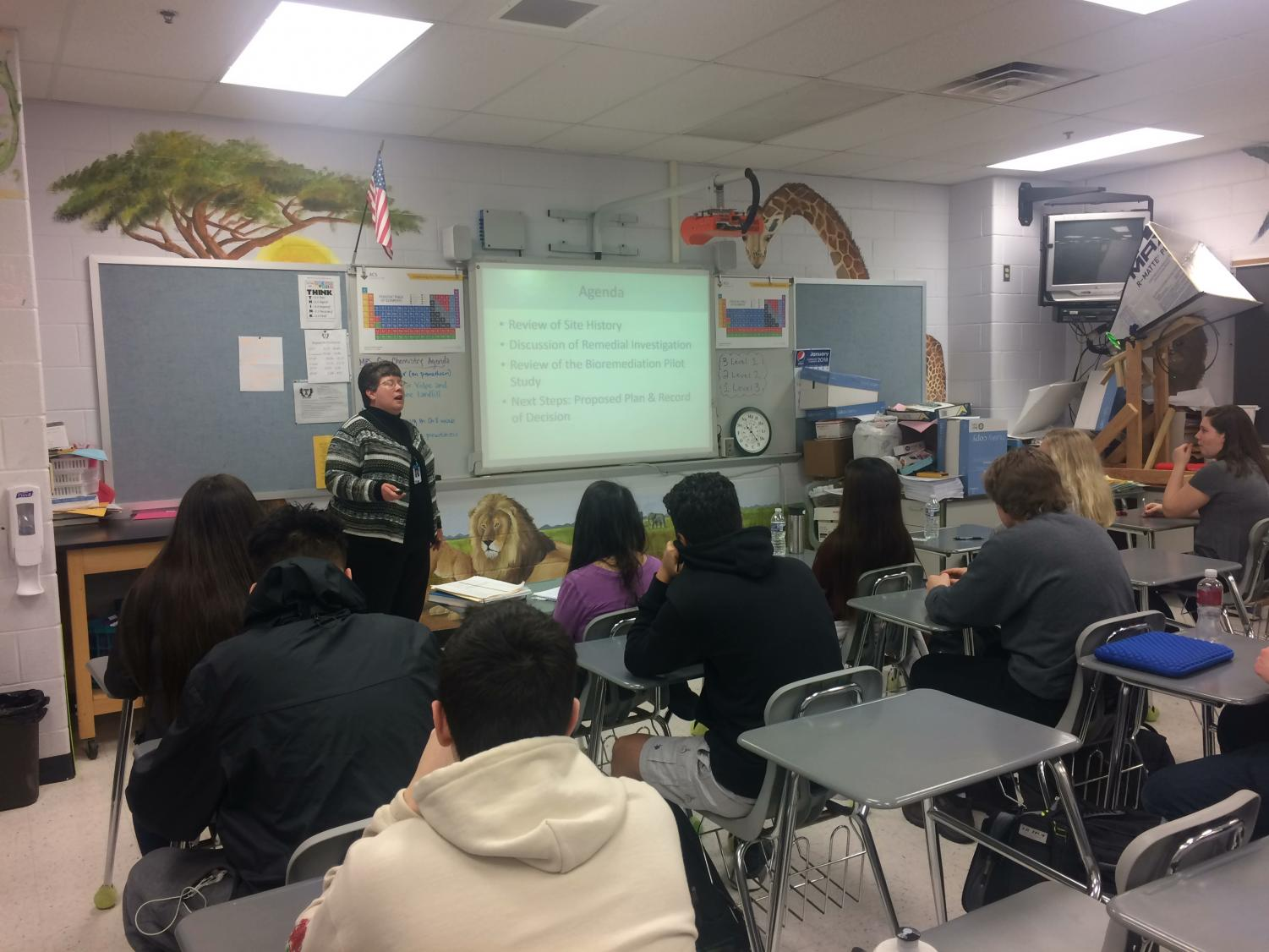 Supervisor Volpe visited science classes to discuss local issues.