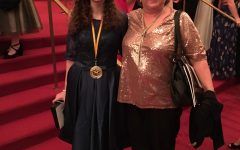 Saskia Hunter with Ms. Young, after Hunter won the Best Supporting Actress in a Play Cappie.