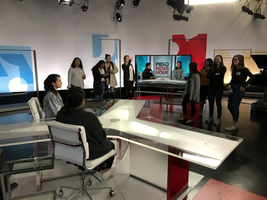 Students got to sit on set and see what it would look like to be on camera for NewsHour.