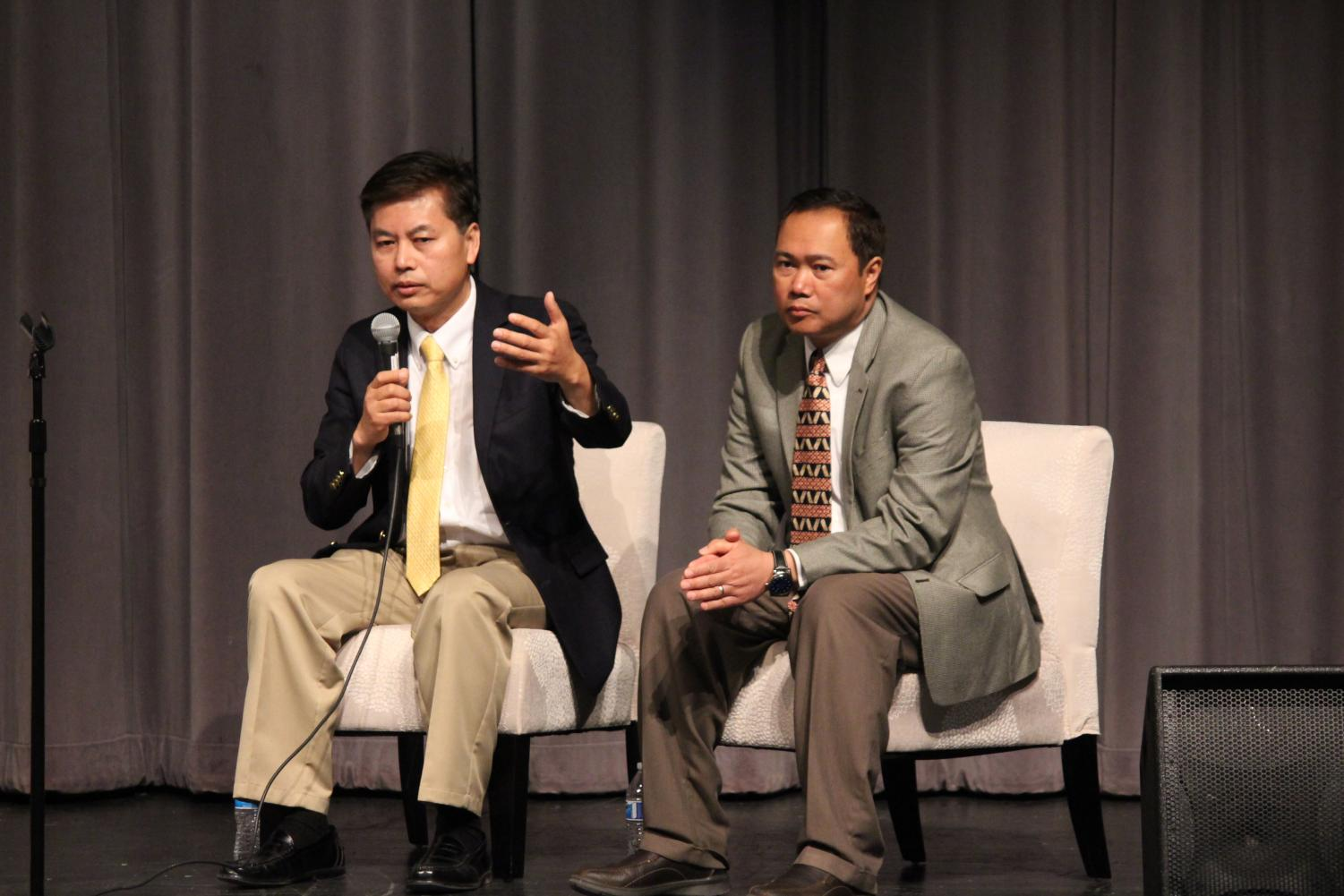 Tung Yap and Titony Dith speak to Dominion students about their experiences in Cambodia.