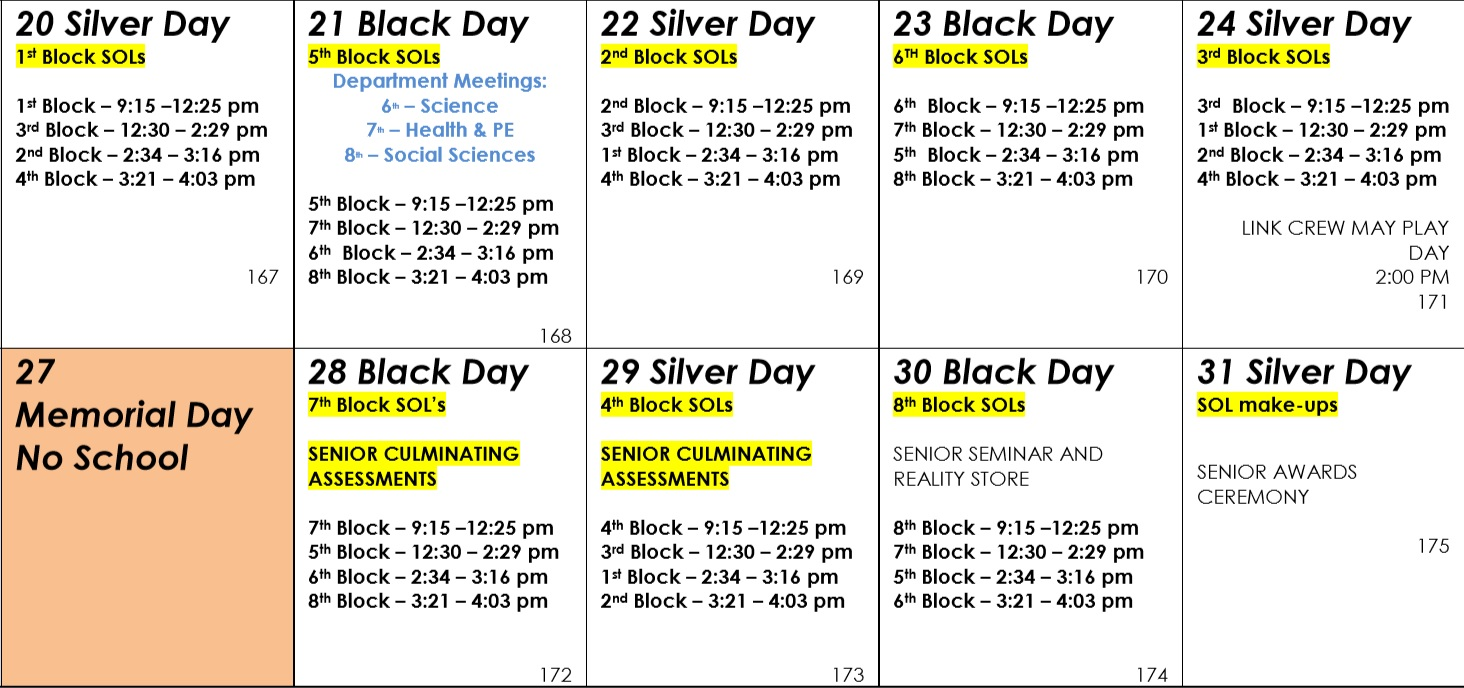 The new SOL schedule leaves three hour blocks for SOLs.
