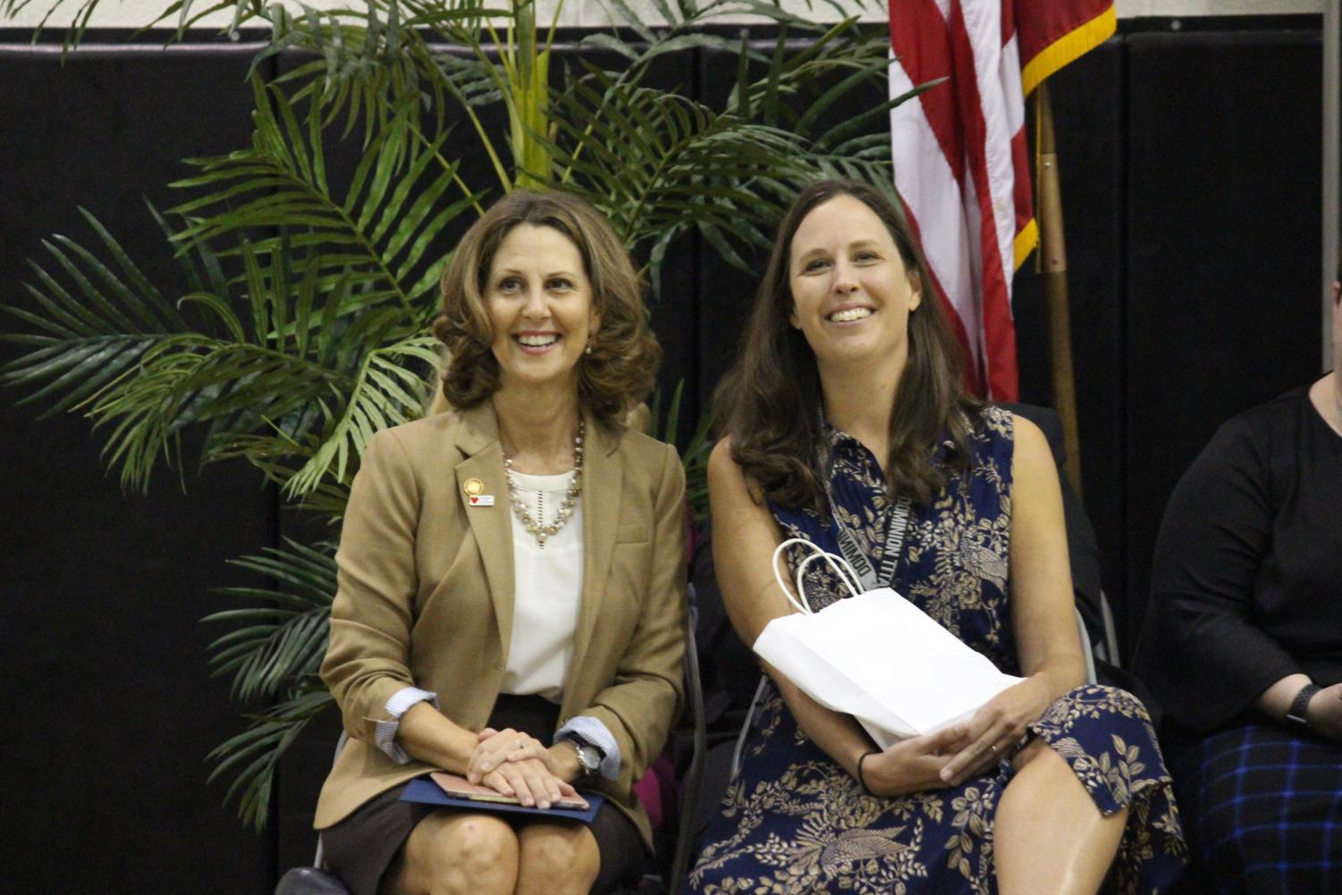 Mrs. Rodgers sits with Mrs. Northam after receiving the Region 4 Teacher of the Year Award.