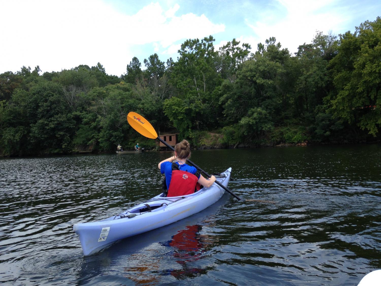 Mrs. Coleman canoeing.