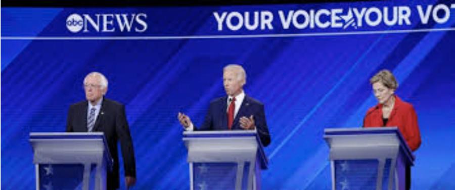Bernie+Sanders%2C+Joe+Biden%2C+and+Elizabeth+Warren+during+the+Democratic+Debates.+