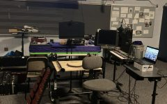 The setup in the classroom for Ryan Rowles, where he tackles being the new band director from afar.