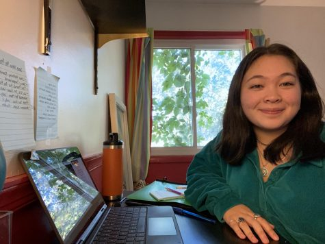 """With just a laptop and a window to her left, Camille is facing the """"most important"""" high school year from home."""