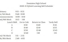 Starting January 21 the bell schedule will be changing in preparation for a return to hybrid learning.