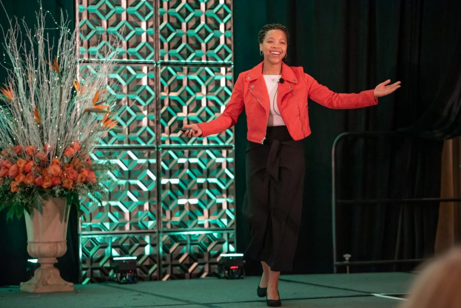 Andrews speaking in front of 600 people at the Virginia Women's Business Conference in 2019.