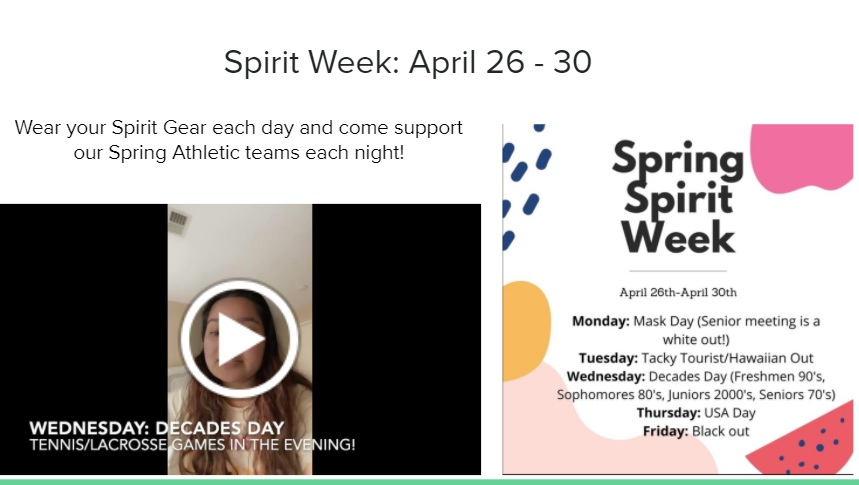 The+slide+presented+to+students+during+Advisory+on+Thursday+promoting+Spirit+Week.