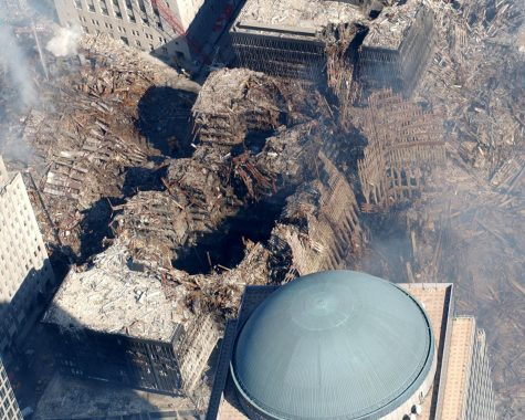 Aerial photo taken on Sept. 20, 2001 showing the destruction of the World Trade Center.