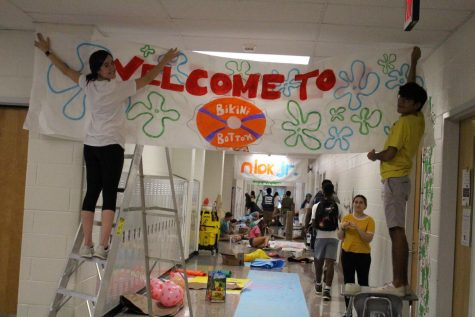 In 2019, students prepare their hallway for the homecoming competition which returns this week.
